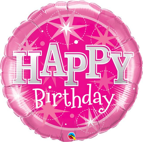 Happy Birthday Pink Sparkle Foil Balloon Qualatex Party 36 34
