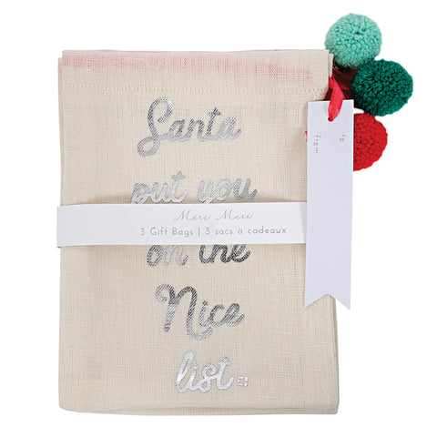 Meri Meri Be Jolly Cotton Pom Pom Christmas Gift Bags (3