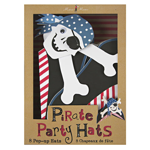 Meri Meri \'Ahoy There\' Pirate Party Hats (8 Pack) Blue One Size