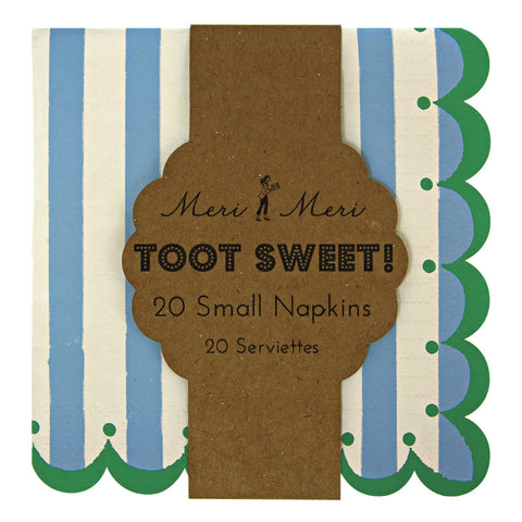 Toot Sweet Small Blue Stripey Paper Party Napkins Pk Of 20 Children\\\'S Birthday
