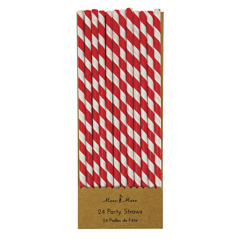 Meri Meri Neon Striped Paper Straws Pack Of 24