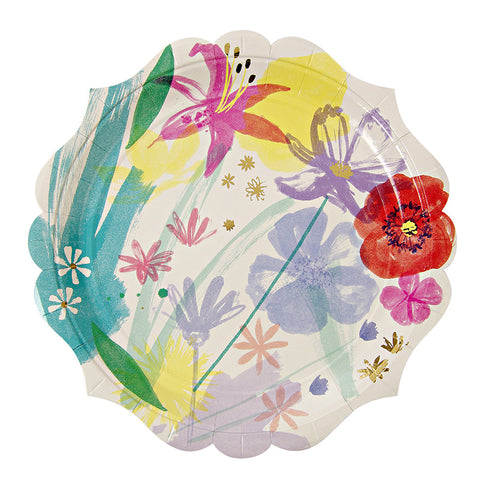 Flowered Foiled Dinner Plates Pkg/8