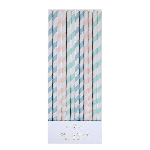 Pastel Colour Stripes Paper Party Straws Set of 24