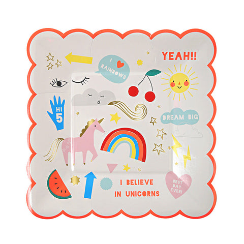 8 Rainbow & Unicorn Small Paper Party Plate