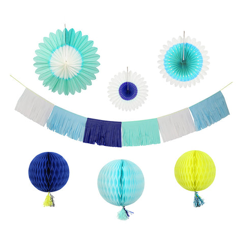 7 Piece Blue Party Hanging Decoration & Garland Decorating Kit