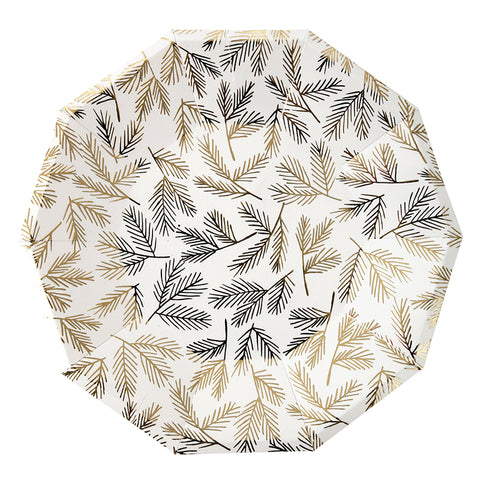 Gold Pine Large Plates By Meri Meri
