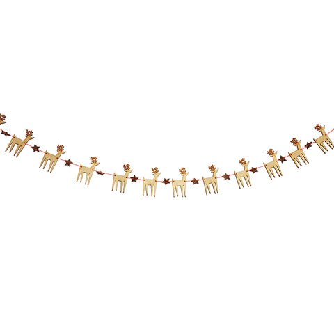 Wooden Reindeer Mini Garland