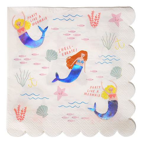 Let\'S Be Mermaids, Mermaid Birthday Party Napkins X 16