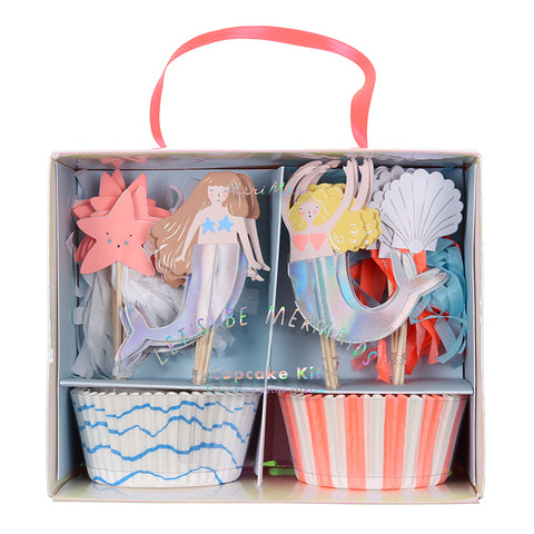 Let's Be Mermaids Party, Mermaid Cupcake Kit, Cases & Toppers