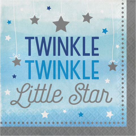 "1St (Age 1) Birthday Party Blue ""Twinkle Little Star"" Luncheon Dinner Napkins"