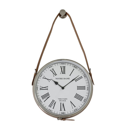 Notre Dame Nickel Leather Brown Wall Clock