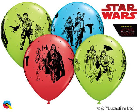 Star Wars Last Jedi 11 Inch Latex Balloons 6 Pack Assorted Colour