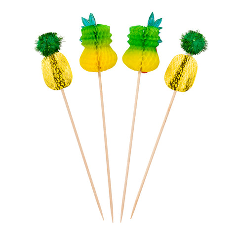 Tropical Pineapple Cake Toppers  Canapã© Picks/Decorations  Summer Bbq/Party