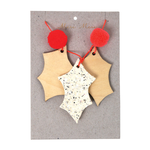 1 Wooden Christmas Decoration In The Form Of Holly Leaves With Two Red Pompoms