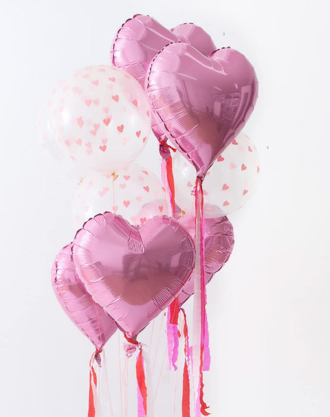 Valentines Giant Heart Shaped Balloon Kit with Paper Streamers (6 Pack)