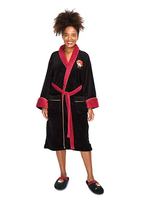 Harry Potter Ron Weasley Kawaii Fleece Ladies Bathrobe Black Burgundy with gold stars