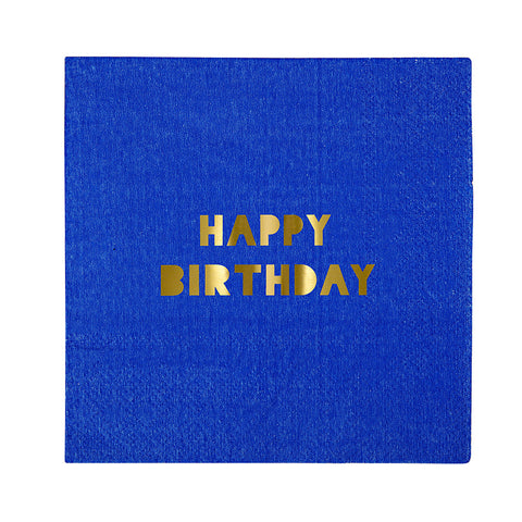 16 Assorted Colour Foil Happy Birthday Motif Small Paper Party Napkin