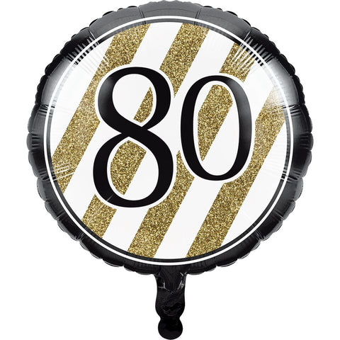 Creative Converting Black And Gold 80Th Birthday Mylar Balloon