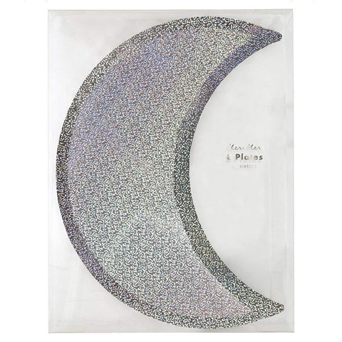 Silver Sparkle Moon Plates