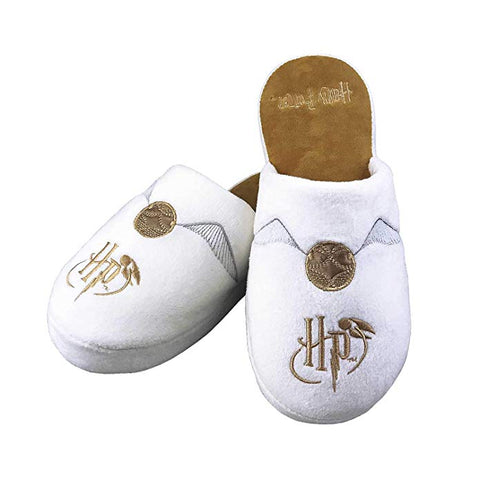 Golden Snitch Harry Potter Mule Slippers White Ladies Large UK 5-7