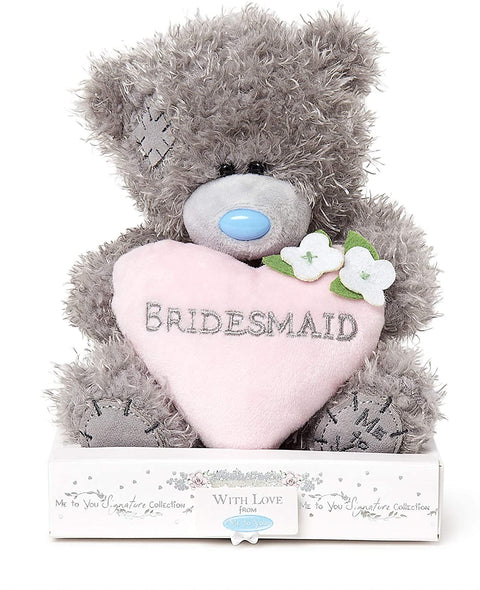Me To You Wedding Day Grey Soft Fluffy Plush Tatty Teddy Bear Soft Toy Holding Bridesmaid Cushion Padded Heart