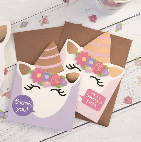 Unicorn Invitation and Thank you Bundle
