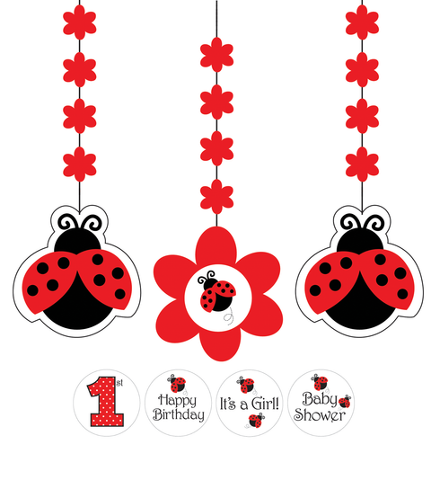 Ladybug Fancy Hanging Decorations With Stickers