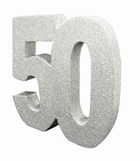 Number 50 Glitter Table Decoration Silver
