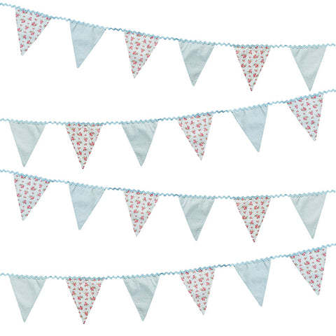 Fabric Bunting Floral Vintage Shabby Chic Wedding Tea Party Alice In Wonderland