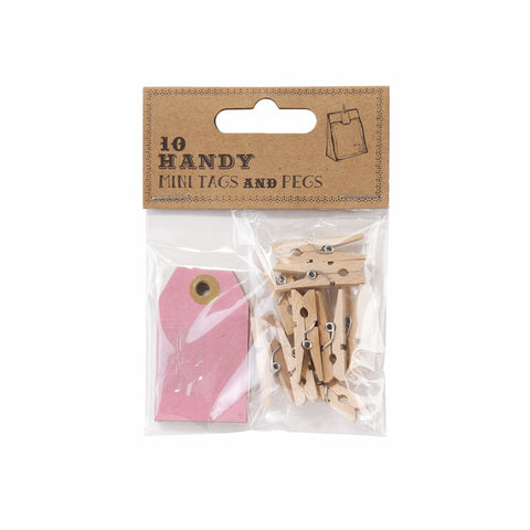 Mini Wooden Pegs & Tags X10 Rustic/Vintage Chic Gift Wrapping/Favour Decoration