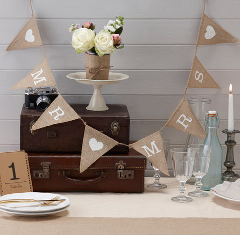 Mr & Mrs Hessian Burlap Bunting Wedding Or Party Decoration Banner