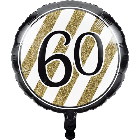 Creative Converting Black And Gold 60Th Birthday Mylar Balloon