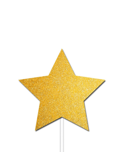 Gold Glitter Christmas Star Cupcake Toppers