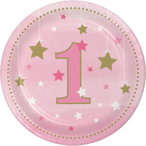 12 By 8 Count Twinkle One Little Star Girl 1St Birthday Dessert Plates Case O...