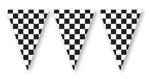Creative Converting 291574 Flag Banner, 20\' Blk & Wh Check