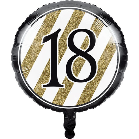 Creative Converting Black And Gold 18Th Birthday Mylar Balloon