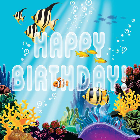 Creative Converting Ocean Party Happy Birthday 16 Count 3-Ply Paper Lunch Napkin