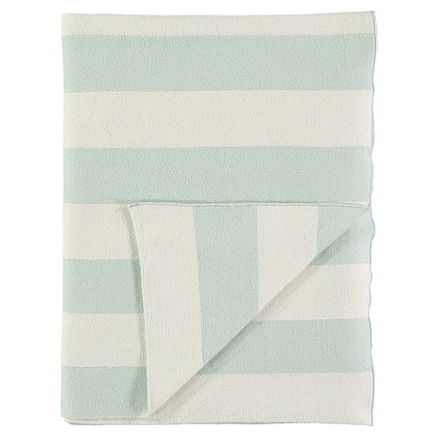 Mint and Ivory Stripe Knitted Blanket