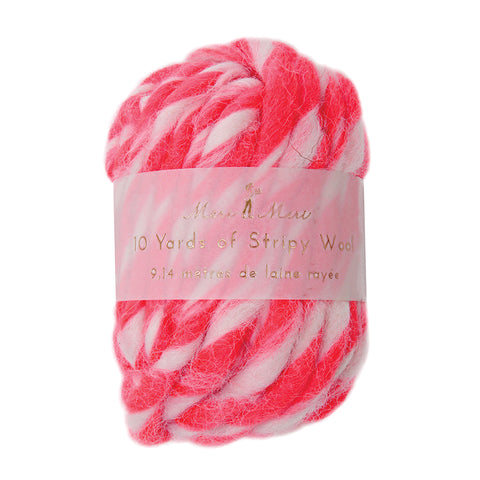 Stripy Wool Neon Pink / White