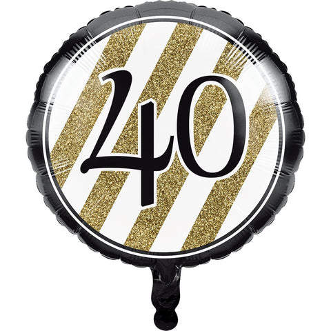 Creative Converting Black And Gold 40Th Birthday Mylar Balloon