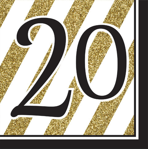 Black And Gold 20Th Bday Napkins