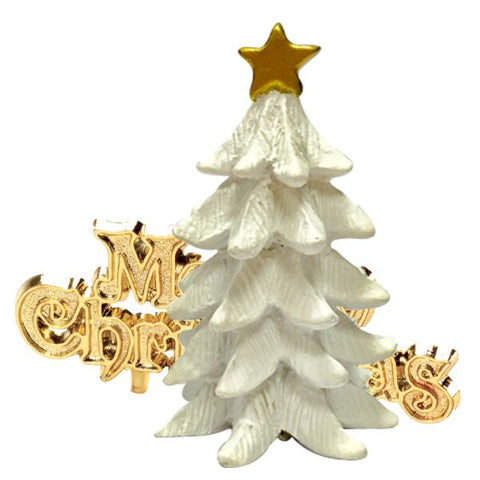 White Christmas Tree Resin Topper & Motto