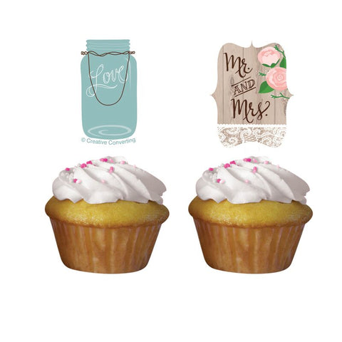 Access Rustic Wedding Cupcake Topper, 12 Ct