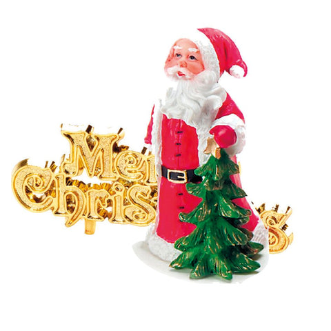 Luxury Boxed Traditional Santa Resin Topper And Motto
