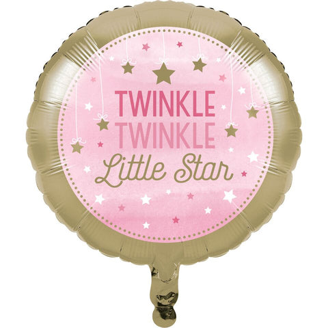 Twinkle Little Star - Pink Foil Balloon, Helium, Baby Shower Party Girl, Gold