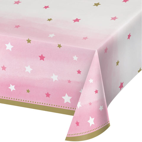 "1St (Age 1) Birthday Party Pink Girl ""Twinkle Little Star"" Plastic Tablecover"