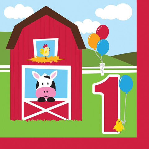Party Creations Farmhouse Fun, Lunch Napkins, 1St Bday, 18 Ct