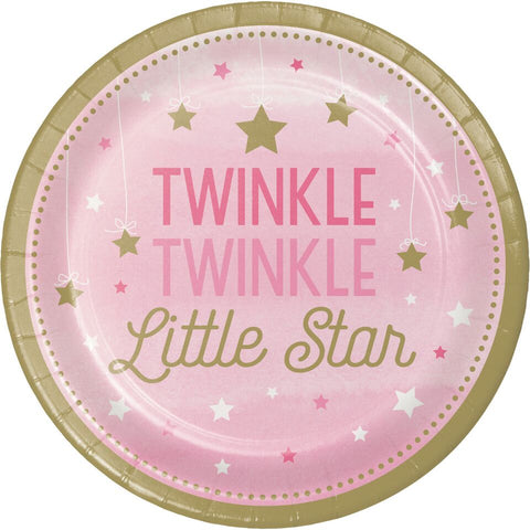 "Twinkle Little Star Pink - 9"" Plates [8], Baby Shower Party Girl,Tableware Paper"