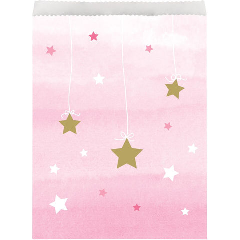 Twinkle Little Star - 10 Baby Shower Party Bags, Pink Paper Party Supplies, Girl