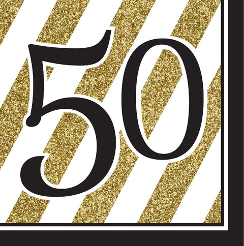 Black And Gold 50Th Birthday Napkins